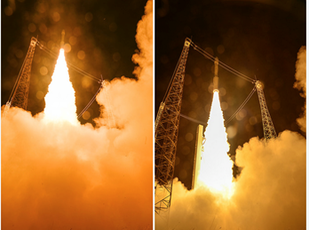 Uppsändningen av Sentinell-2A från den europeiska rymdbasen i Kourou..