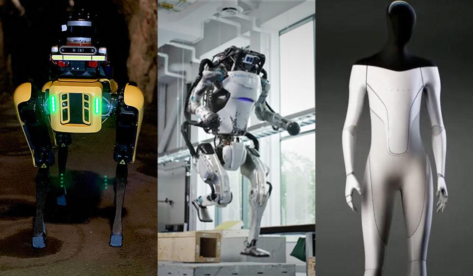 Robothunden Spot, roboten Atlas och Tesla bot.