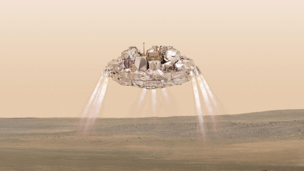 Illustration av när Schiaparelli närmar sig mars yta.