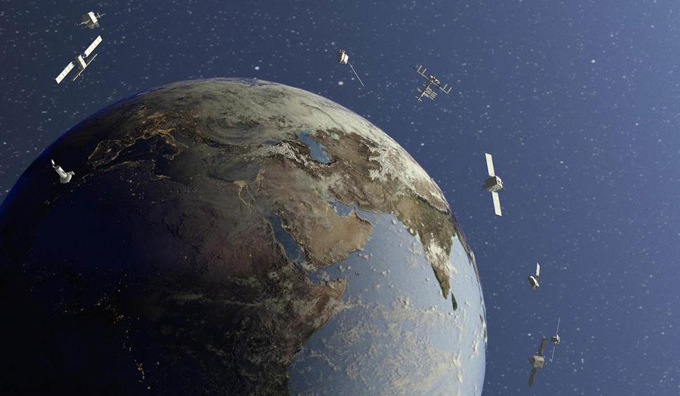 Satelliter som kretsar runt jorden.