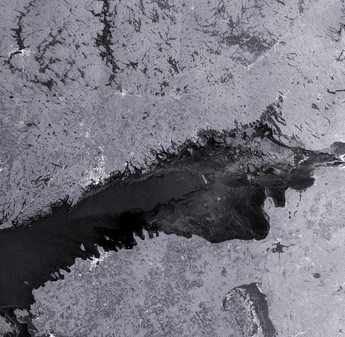 Sentinel-B satellitens vy över Finska viken
