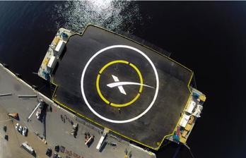 Plattformen som raketen Falcon 9 ska landa på.