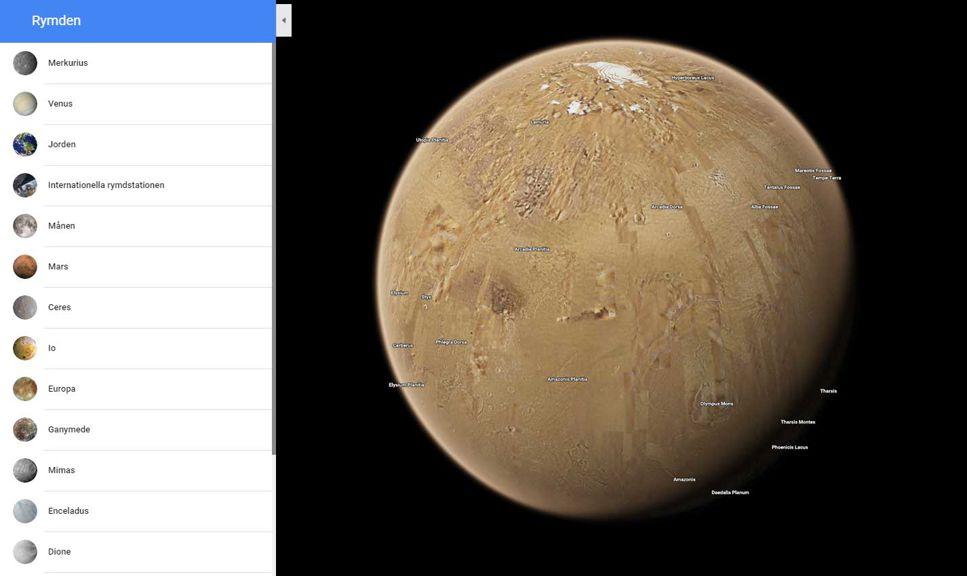 Utforska solsystemets planeter och månar i Google Maps