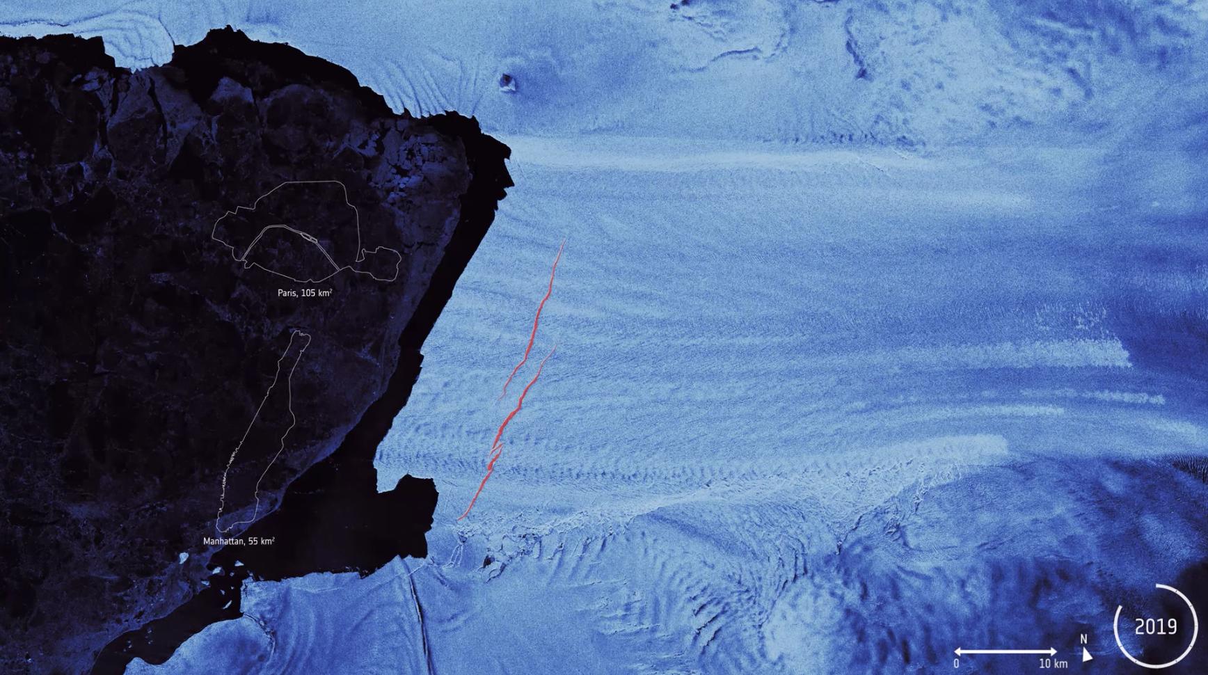 Sprickor i Pine Island-glaciären upptäckta av satelliter