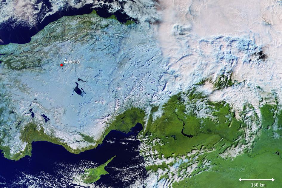 Sentinel-3 visar snökaoset över Turkiet