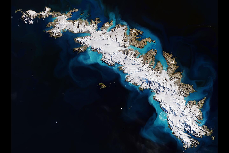 Avlägsna Sydgeorgien sedd från rymden