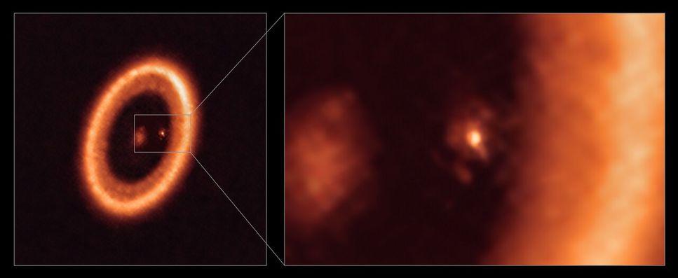 Bild av hur en måne bildas vid en exoplanet