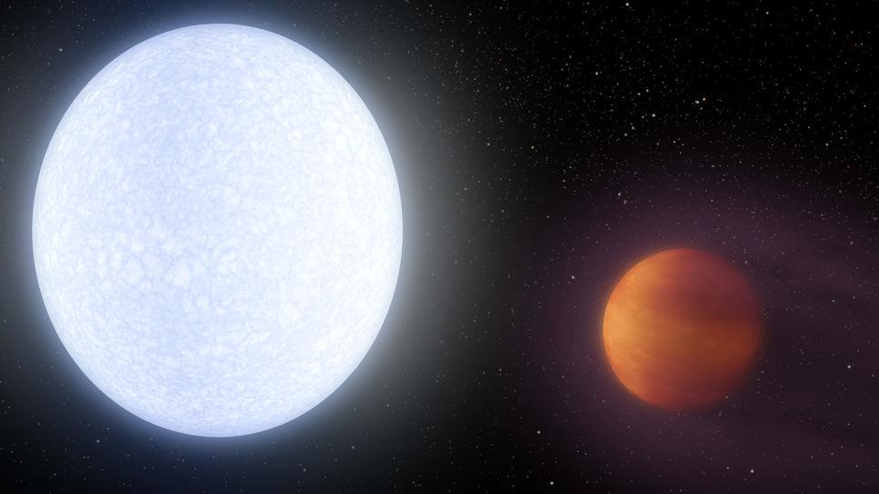 Illustration av den varma exoplaneten Kelt-9 b