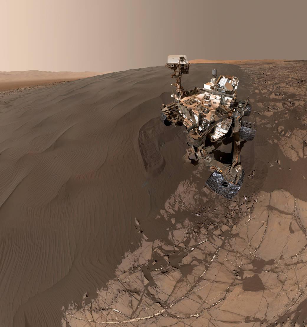 Illustration av Curiosity på Mars yta