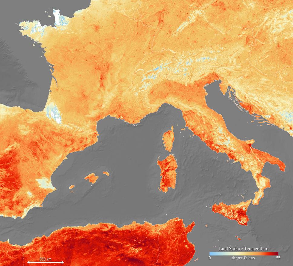 Europas värmebölja fångad på bild av satellit