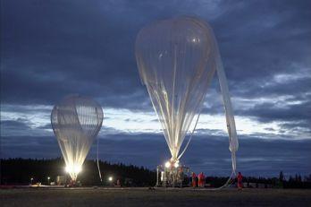 Franska rymdorganisationen CNES stratosfärballong lyfter från Esrange i Kiruna.