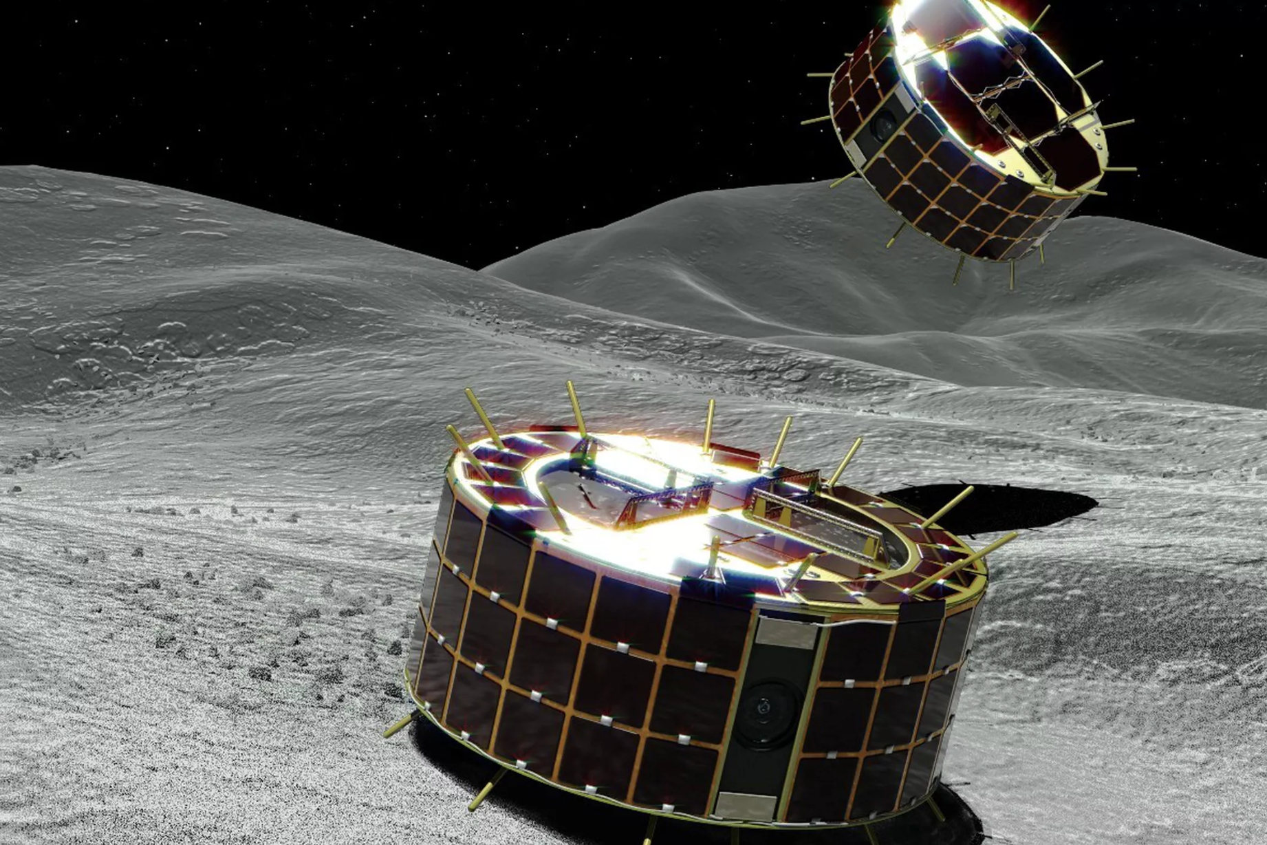 Japanska robotar på väg att landa på asteroid