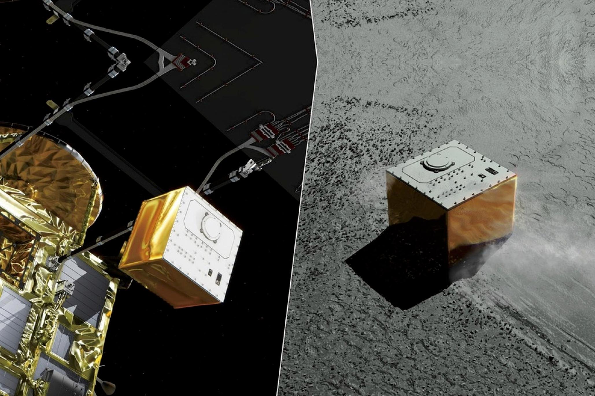 Asteroidlandaren Mascot släpps från moderfarkosten