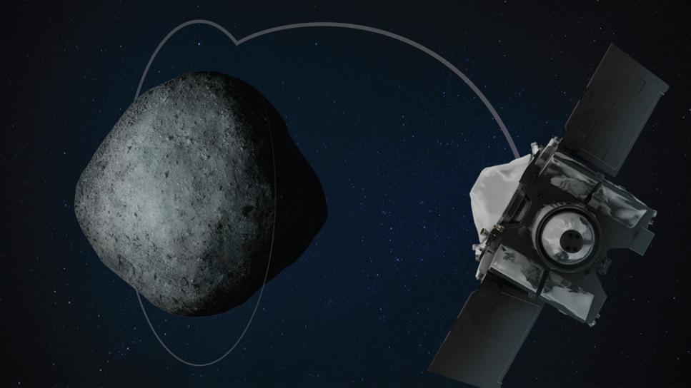 Illustration asteroiden Bennu med OSIRIS-REx