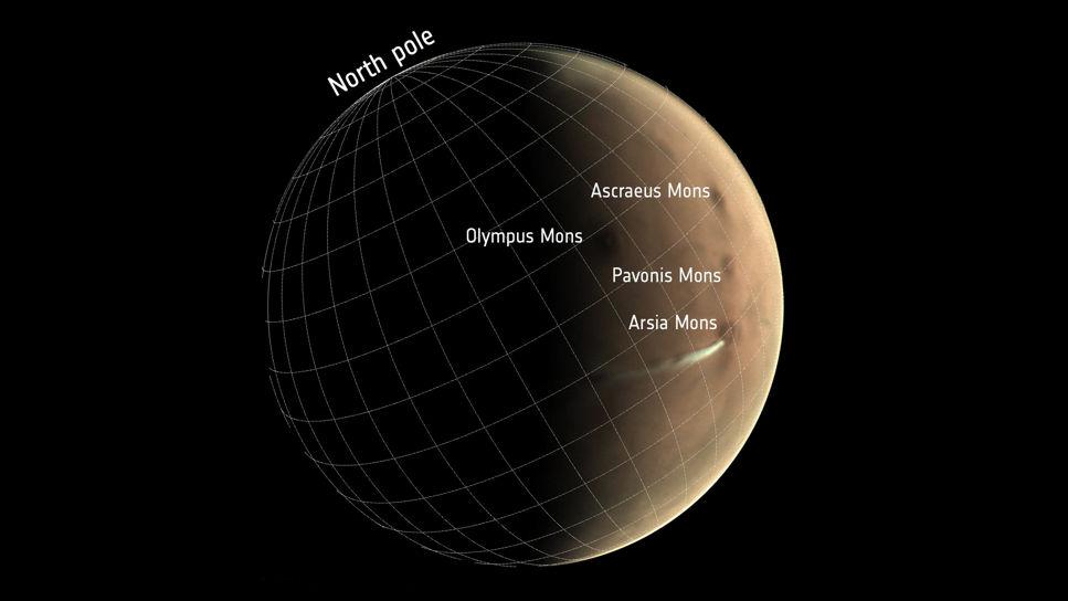 Mars med vulkaner