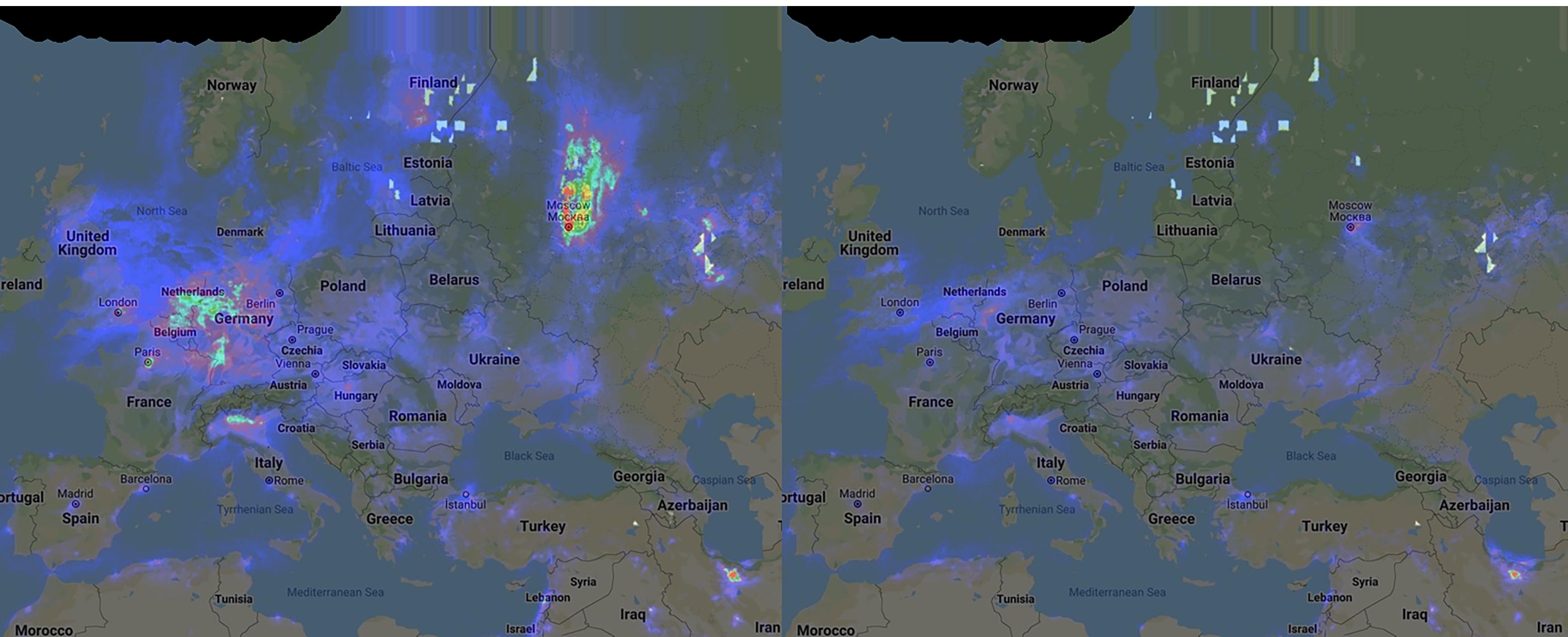 Fortsatt kraftigt sänkta föroreningsnivåer i Europa