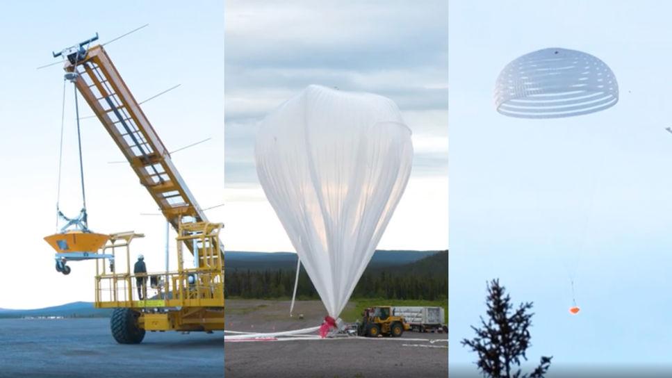 Bilder från fallskärmstesterna på Esrange i kiruna. Testfarkosten lyfts upp med hjälp av en lyftkran. Den stora stratosfäriska ballongen blåses upp. Testfarkosten glider mot jorden med hjälp av en stor fallskärm.