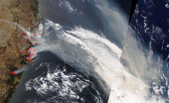Bränder i Australien märks av i Sydamerika