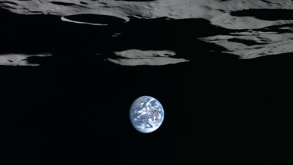 Häftig bild av jorden tagen från månen