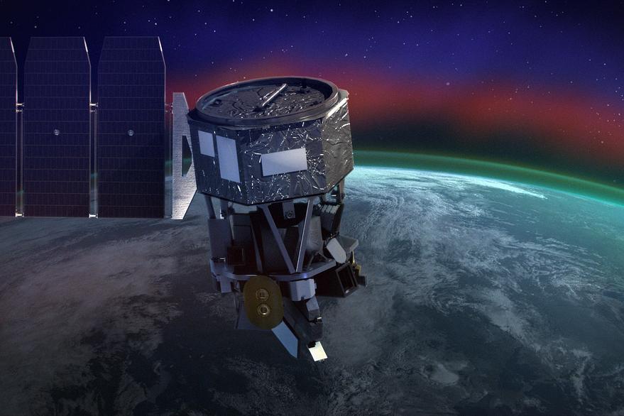 Satelliten Icon på väg mot rymden - med flygplan